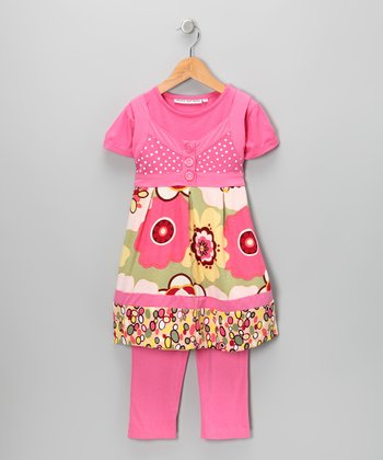 Pink Layered Tunic & Leggings - Infant, Toddler & Girls