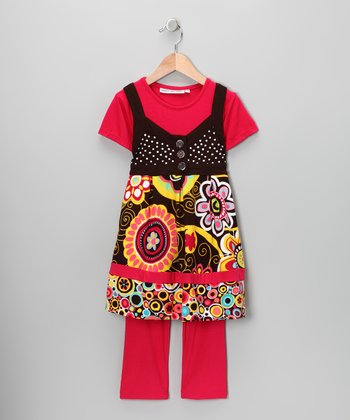 Red & Brown Layered Tunic & Pants - Infant & Toddler