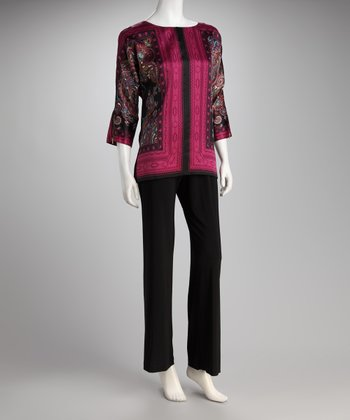 Black & Fuchsia Paisley Top & Black Pants - Women
