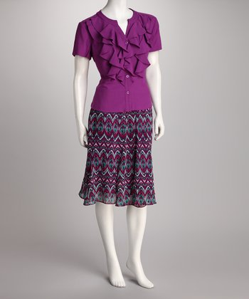Orchid Button-Up Ruffle Top & Skirt