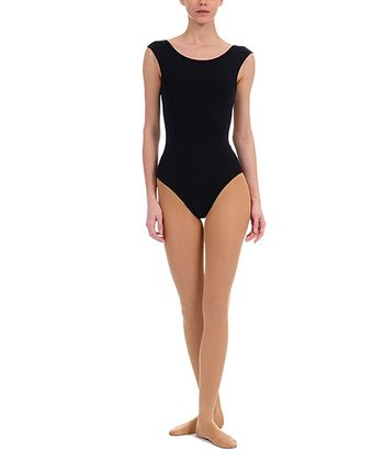 Rich Black NYCB Mesh Cap-Sleeve Leotard - Women