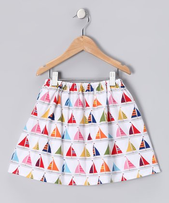 White Sailboat Skirt - Girls