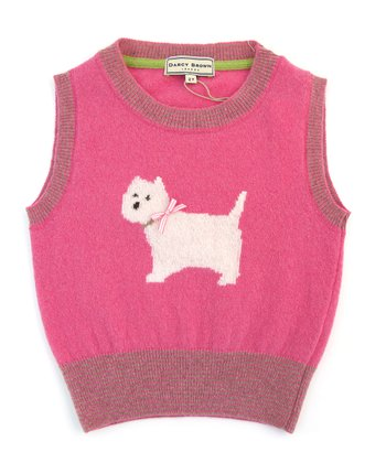 Darcy Brown Rose Pink Westie Wool Vest - Infant & Toddler