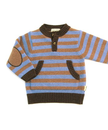 Darcy Brown Chocolate & Dusk Blue Myrtle Wool Pullover - Infant