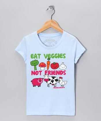 Powder Blue 'Eat Veggies, Not Friends' Tee - Girls