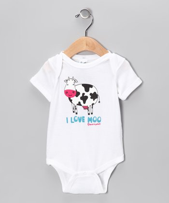 White 'I Love Moo' Bodysuit - Infant