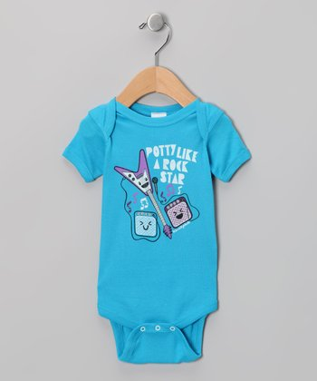 Turquoise 'Potty Like a Rock Star' Bodysuit - Infant