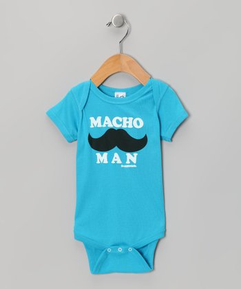 Turquoise 'Macho Man' Mustache Bodysuit - Infant
