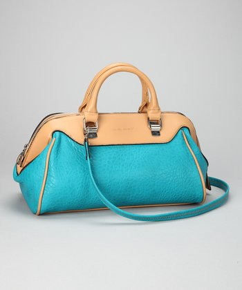 Peacock Blue & Tan Satchel