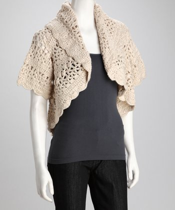 Almond Frost Shawl Collar Shrug