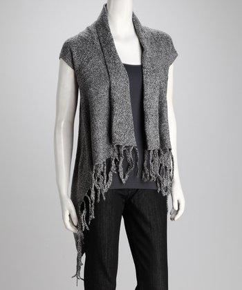 Black Fringe Open Cardigan