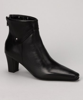 Black Leather Sassy Ankle Boot