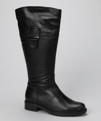 Black Leather Wanda Wide-Calf Boot