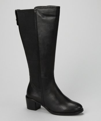Black Leather Eden Wide-Calf Boot