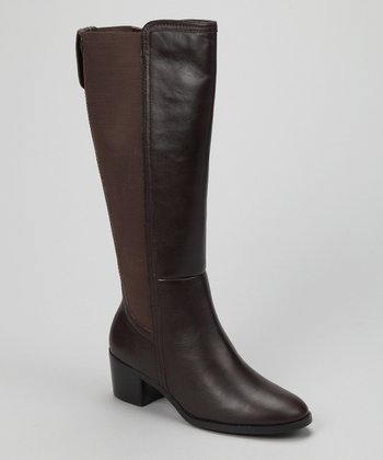 Brown Leather Wendy Wide-Calf Boot
