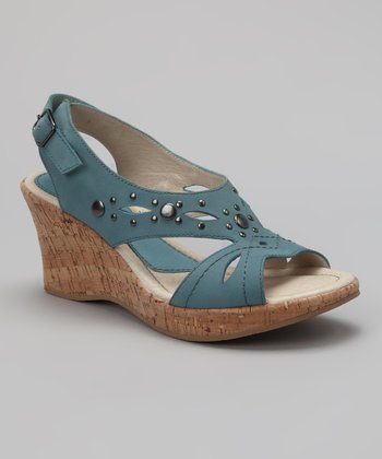 Denim Nubuck Mercury Cork Wedge