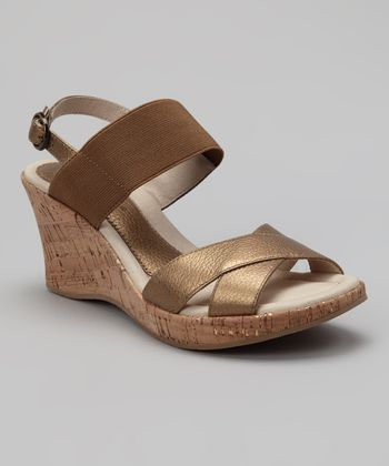 Bronze Leather Oasis Cork Wedge