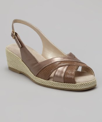 Pewter Lizard Smooth Slingback