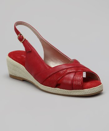 Red Lizard Smooth Slingback