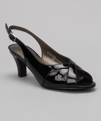 Black Patent Leather Softy Slingback Sandal