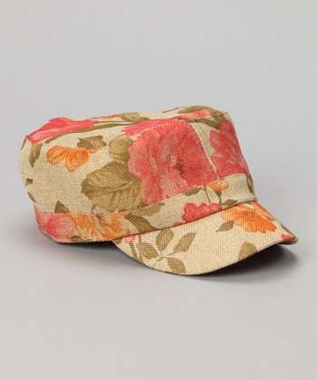 Natural & Hot Pink Floral Straw Newsboy Hat