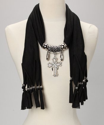 Black Embellished Cross Scarf
