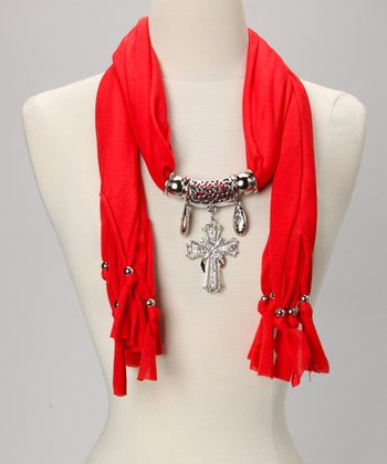 Red Embellished Cross Scarf