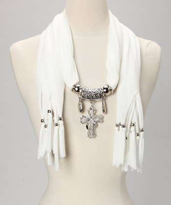 White Embellished Cross Scarf
