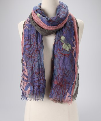 Gray & Pink Three-Layer Oblong Scarf
