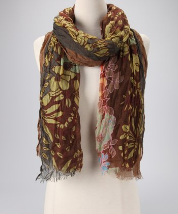 Olive Three-Layer Oblong Scarf