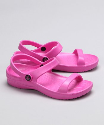 Hot Pink Triple-Strap Sandal - Girls