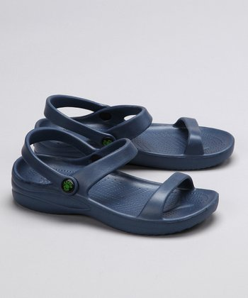 Navy Triple-Strap Sandal - Kids