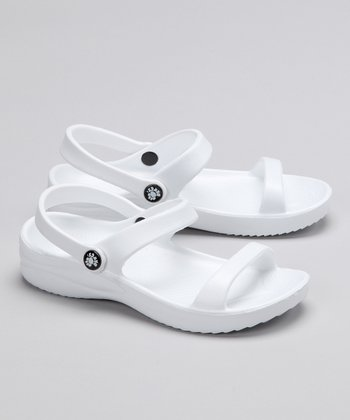 White Triple-Strap Sandal - Kids