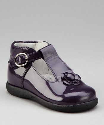 Purple Flower T-Strap Shoe