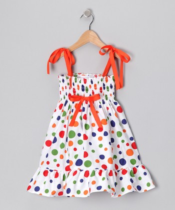 White Party Polka Dot Shirred Dress - Toddler & Girls