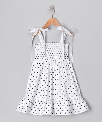 White Polka Dot Shirred Dress - Infant, Toddler & Girls