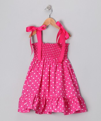 Hot Pink Polka Dot Shirred Dress - Infant, Toddler & Girls