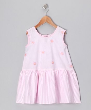 Pink Flower Stripe Bow Dress - Infant & Girls