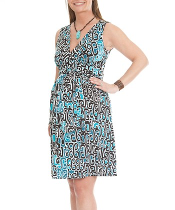 Blue Tribal Sleeveless Maternity V-Neck Dress