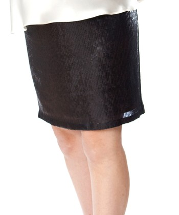 Black Sequin Caryn Maternity Skirt