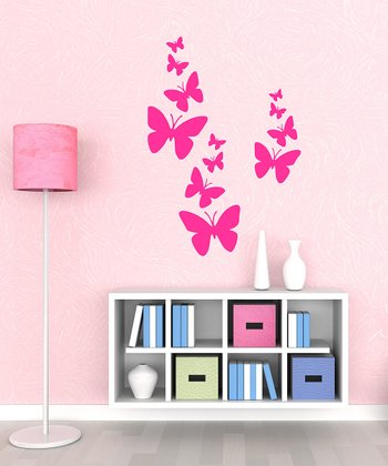 Hot Pink Butterfly Flurry Wall Decal Set