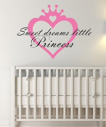 Light Pink & Black 'Sweet Dreams Little Princess' Wall Decal Set