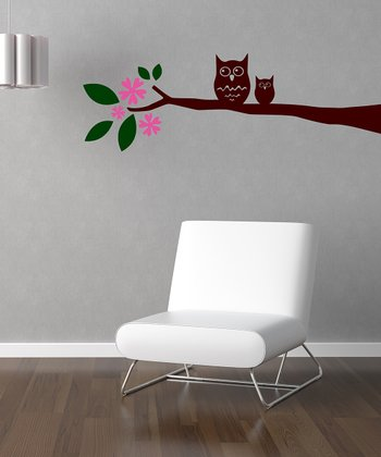 Pink & Brown Owl on Branch Wall Decal Set