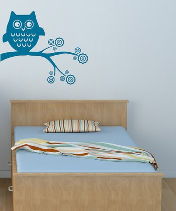 Teal Whimsical Owl Wall Decal Set