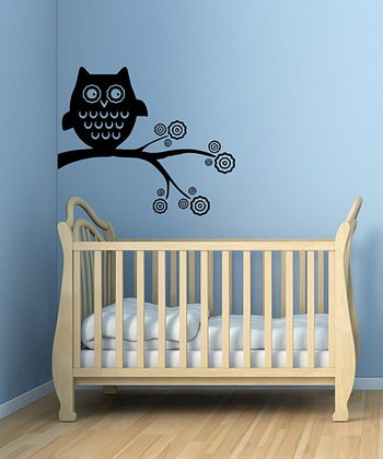 Black Whimsical Owl Wall Decal Set