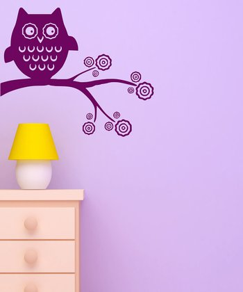 Orchid Whimsical Owl Wall Decal Set