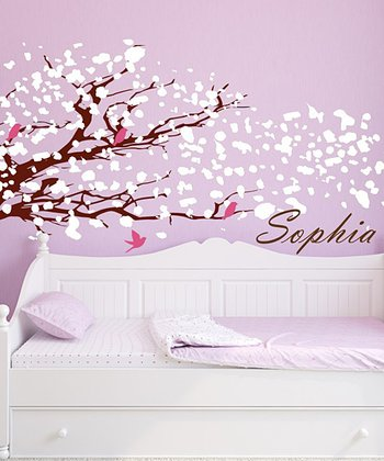 White & Brown Blowing Tree Personalized Wall Decal Set