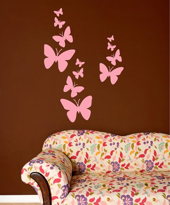 Light Pink Butterfly Flurry Wall Decal Set
