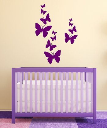 Orchid Butterfly Flurry Wall Decal Set