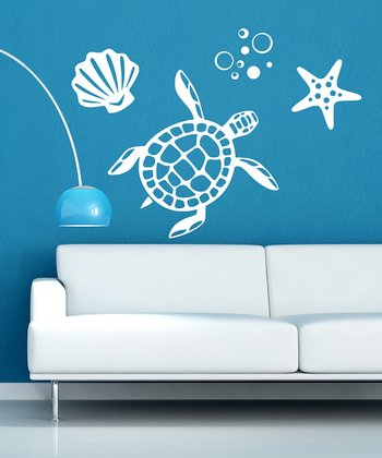 White Sea Turtle Wall Decal Set